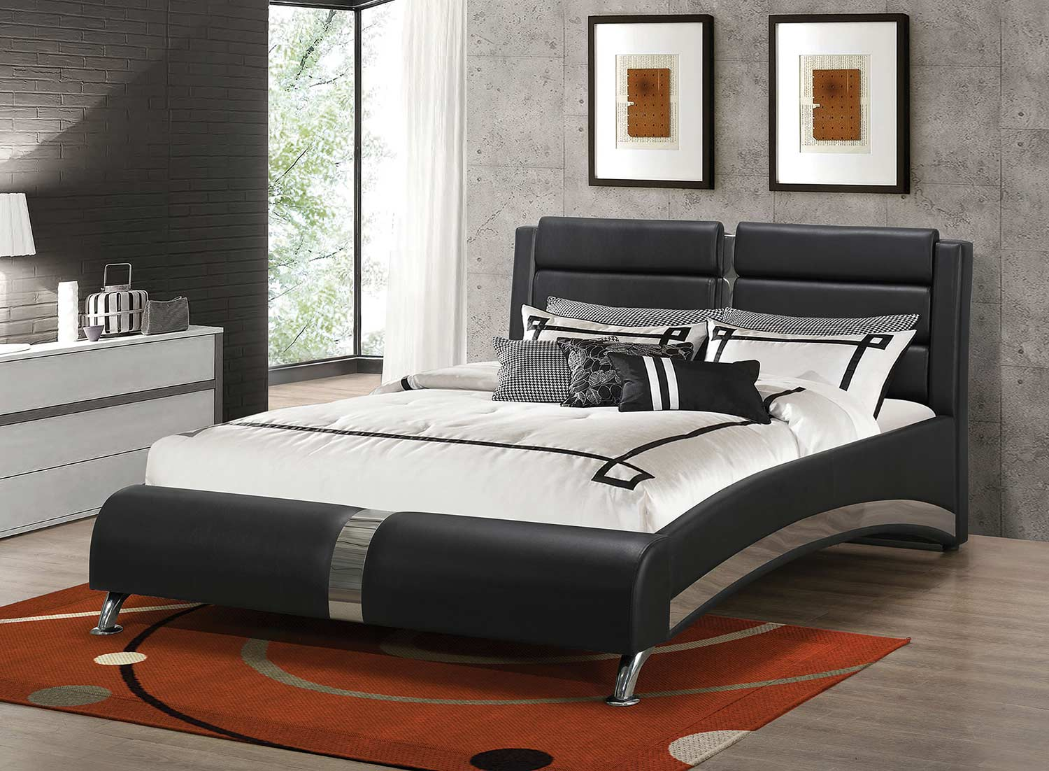 Coaster Havering Upholstered Platform Bed - Black