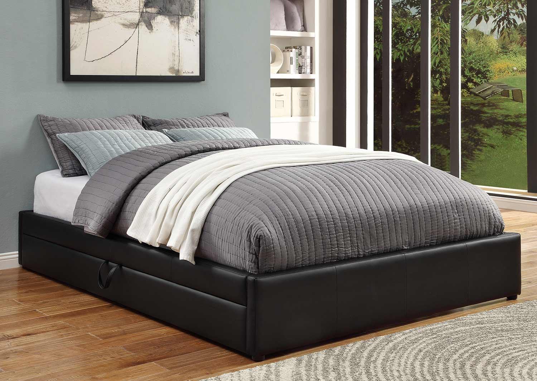 Coaster Hunter Bed - Black Leatherette