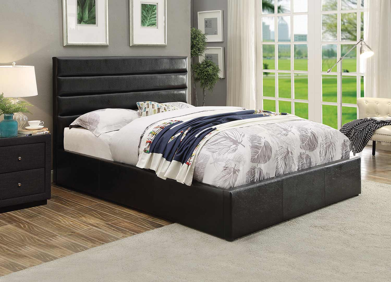 Coaster Riverbend Bed - Black Leatherette