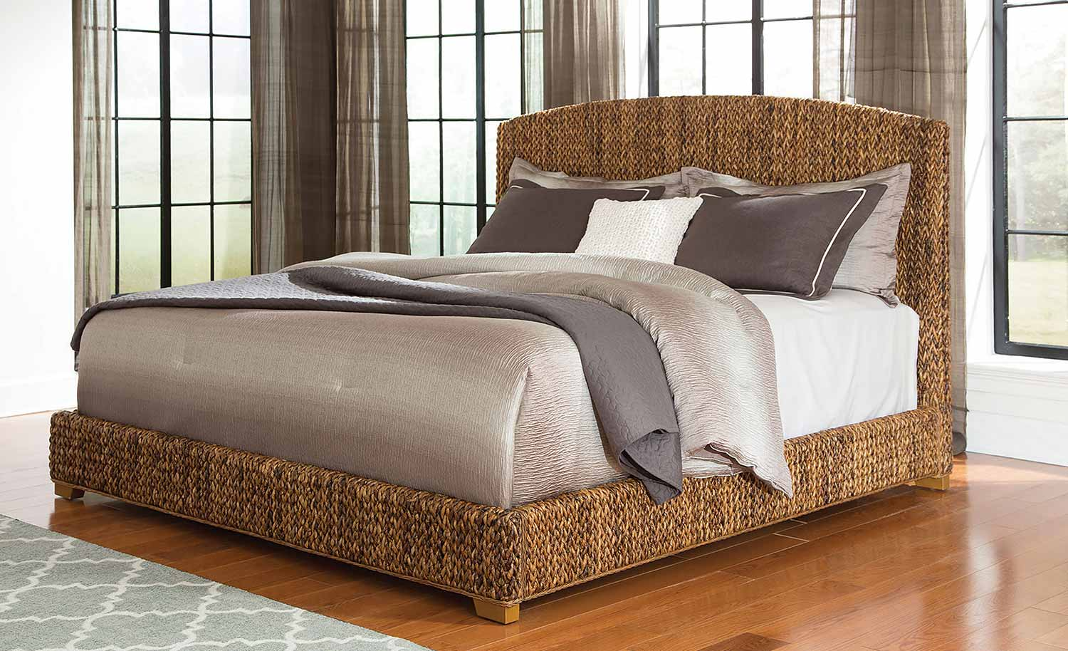 Coaster Laughton Abaca Panel Bed - Natural/Cocoa Brown