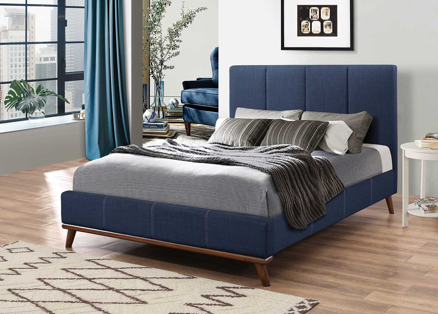 Coaster Charity Low Profile Platform Upholstered Bed - Blue Fabric