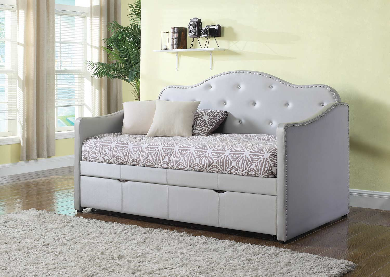 Coaster Dillane Button Tufted Upholstered Daybed with Trundle - Pearlescent Grey Leatherette