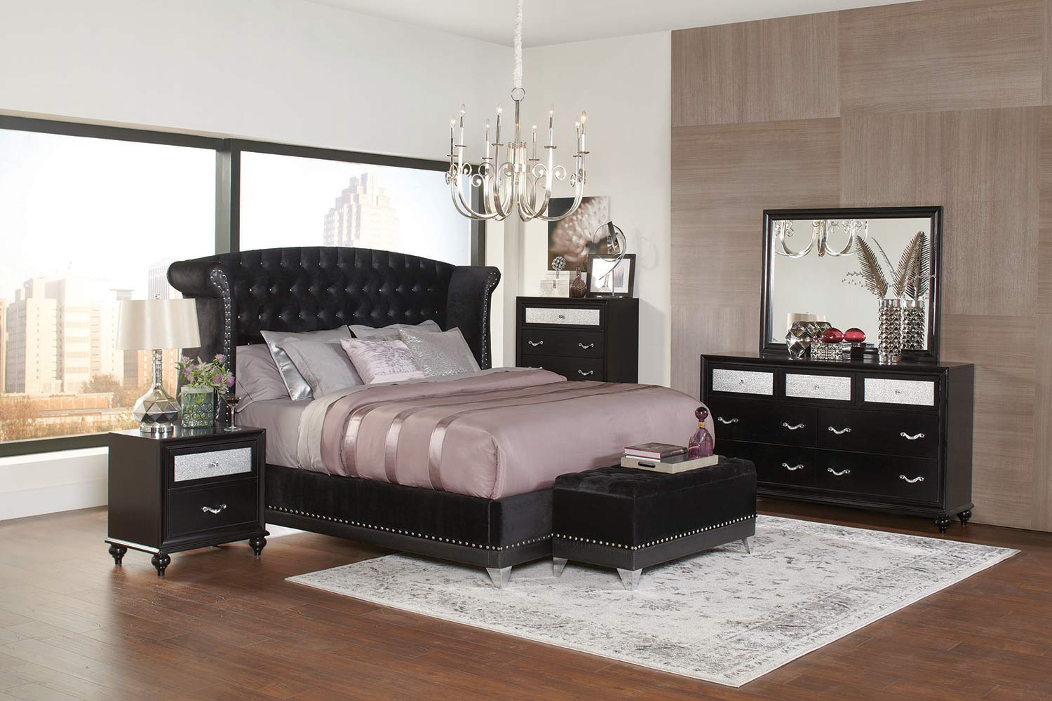Coaster Barzini Bedroom Collection   Black Velvet