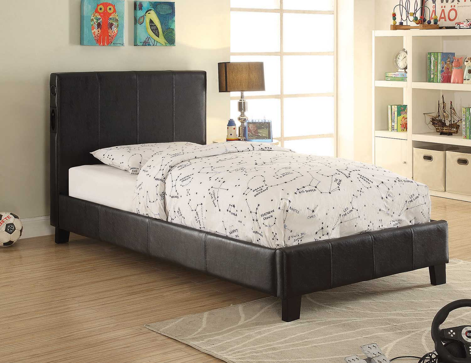 Superb Coaster Alejandro Low Profile Platform Upholstered Bed With Speakers    Black Leatherette