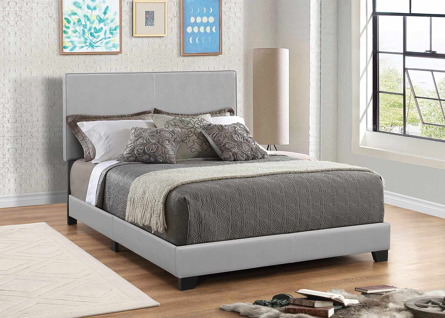Coaster Dorian Low Profile Upholstered Bed - Gray Leatherette