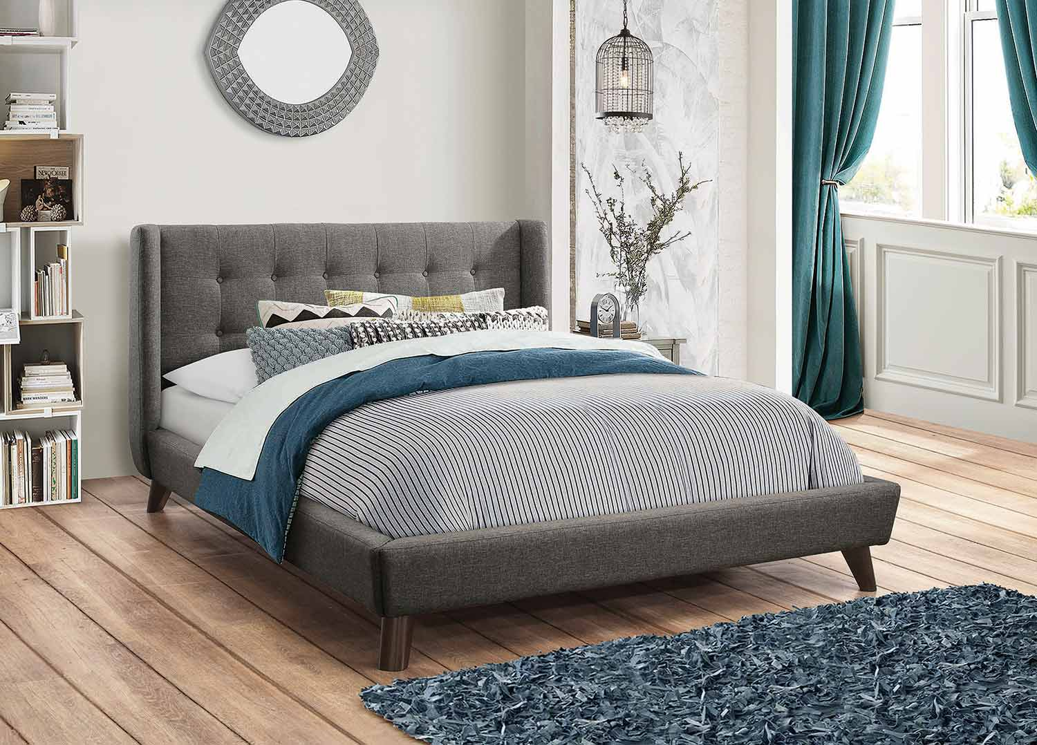Coaster Carrington Low Profile Platform Upholstered Bed - Gray Fabric