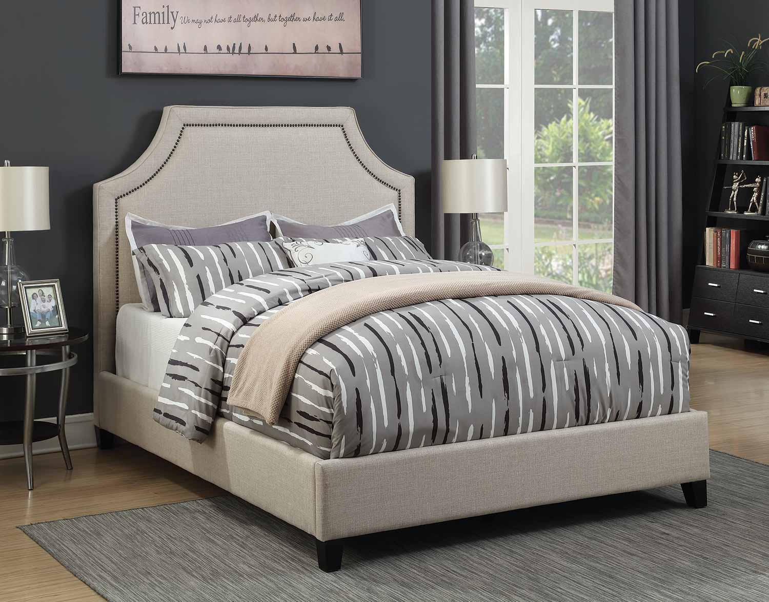 Coaster Cantillo Rivera Low Profile Upholstered Bed - Oatmeal Fabric