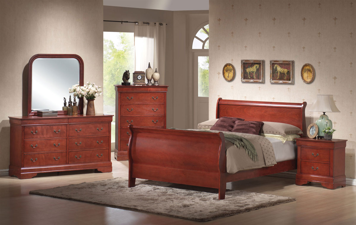 Coaster Louis Philippe Warm Cherry Sleigh Bedroom Set 3981n Bed Set