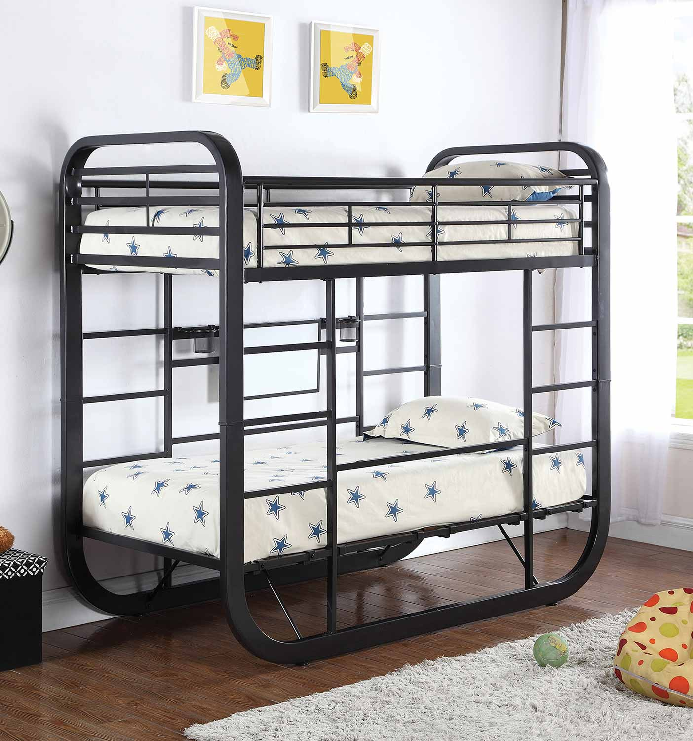 Coaster Archer Twin Size Workstation Bunk Bed - Gunmetal