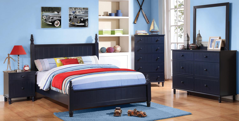 Coaster zachary bedroom set navy blue 400691 bed set at for Coaster bedroom furniture reviews