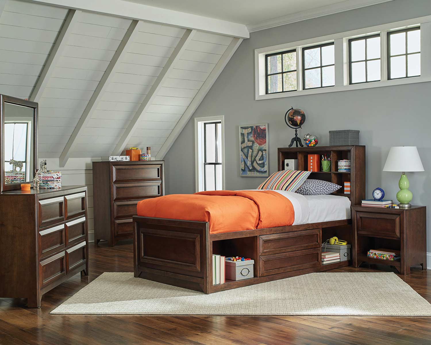 Coaster Greenough Twin Size Storage Bedroom Set - Maple Oak