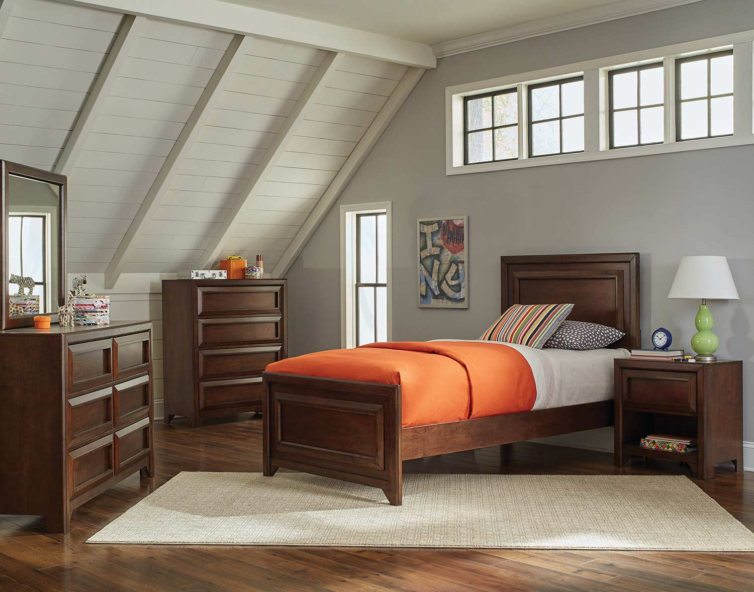 Coaster Greenough Panel Bed Set - Maple Oak