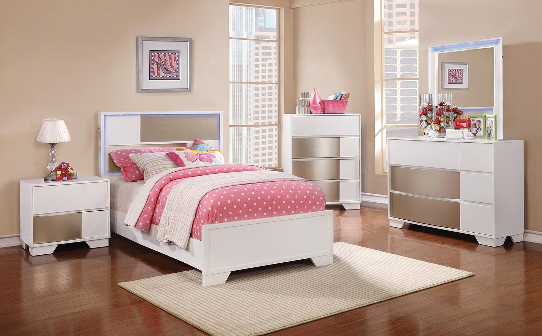 Coaster Havering Bed Set - Blanco/Sterling