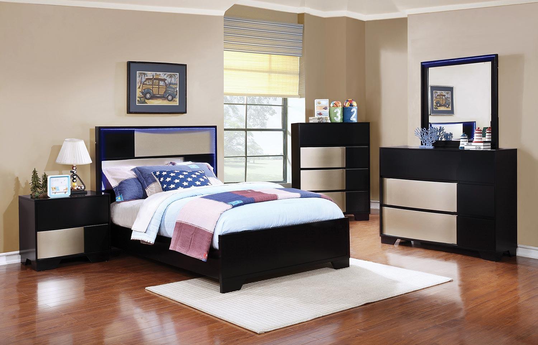Coaster Havering Bed Set - Black/Sterling