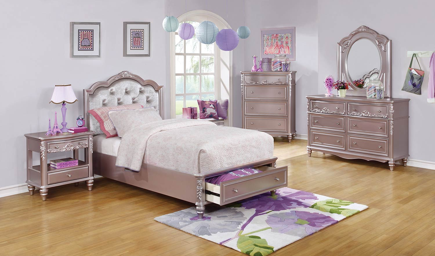 Coaster Caroline Storage Bedroom Set - Metallic Lilac