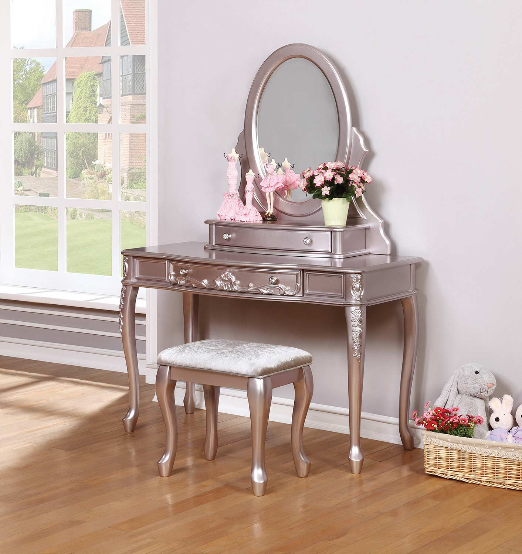 Coaster Caroline Vanity Desk Set - Metallic Lilac