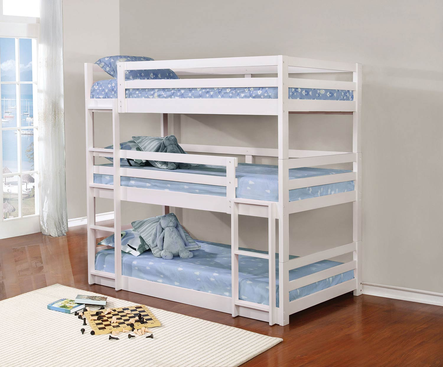 Coaster 401302 Convertible Triple Twin Bunk Bed White