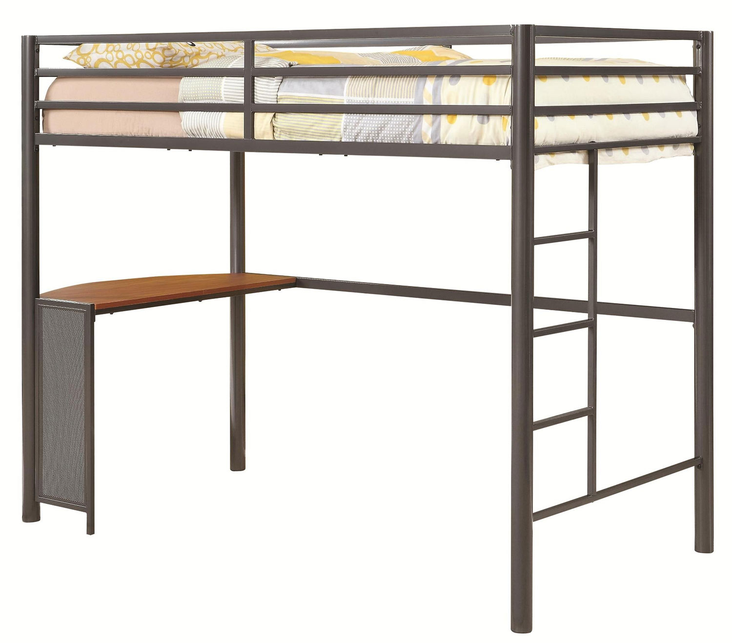 Coaster Fisher Twin Size Workstation Loft Bed - Gunmetal