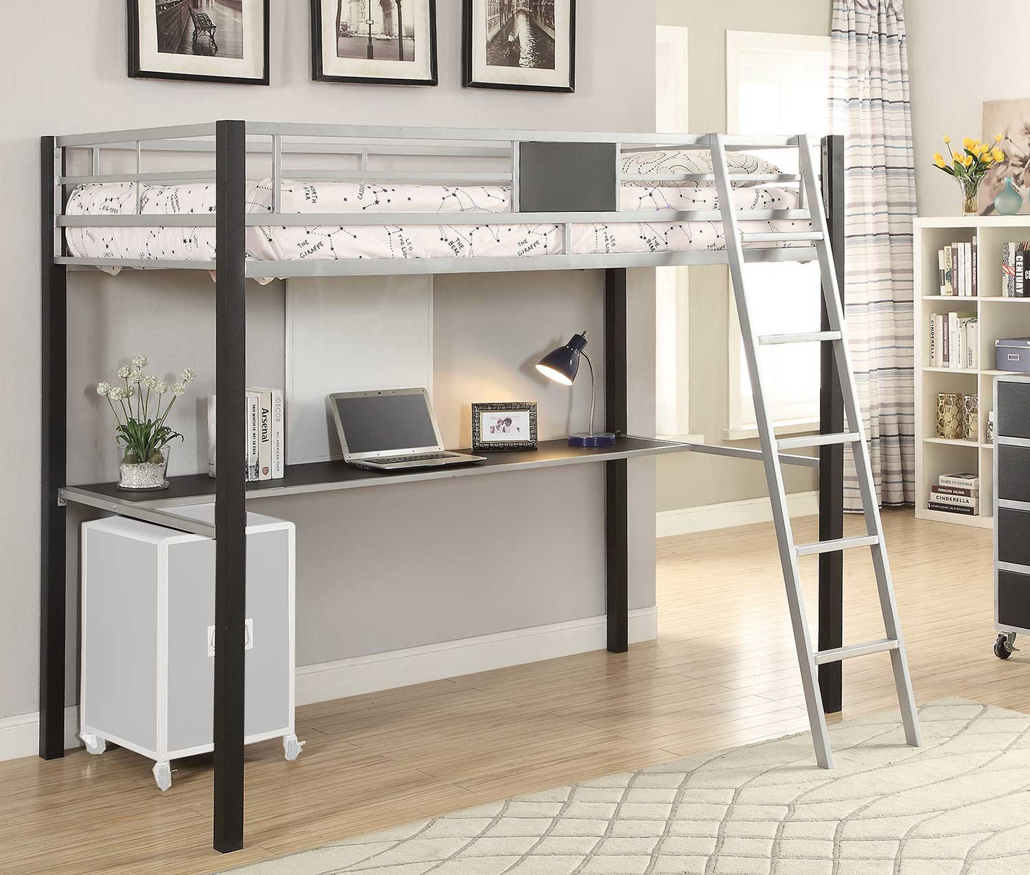 Coaster Leclair Twin Workstation Loft Bed - Silver/Black Leatherette