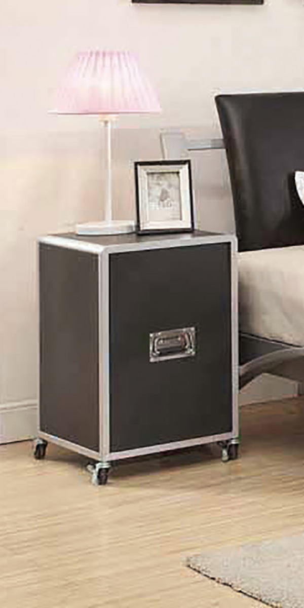 Coaster Leclair Cabinet - Silver/Black Leatherette