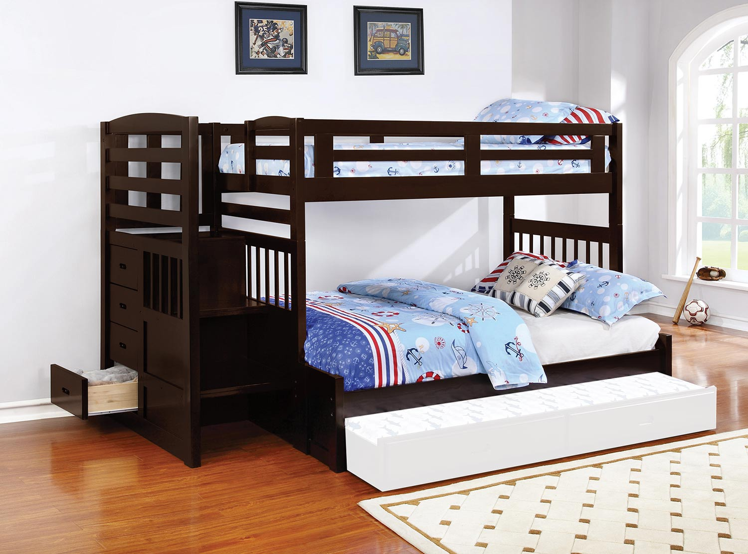 Coaster Dublin Twin/Full Size Bunk Bed - Cappuccino