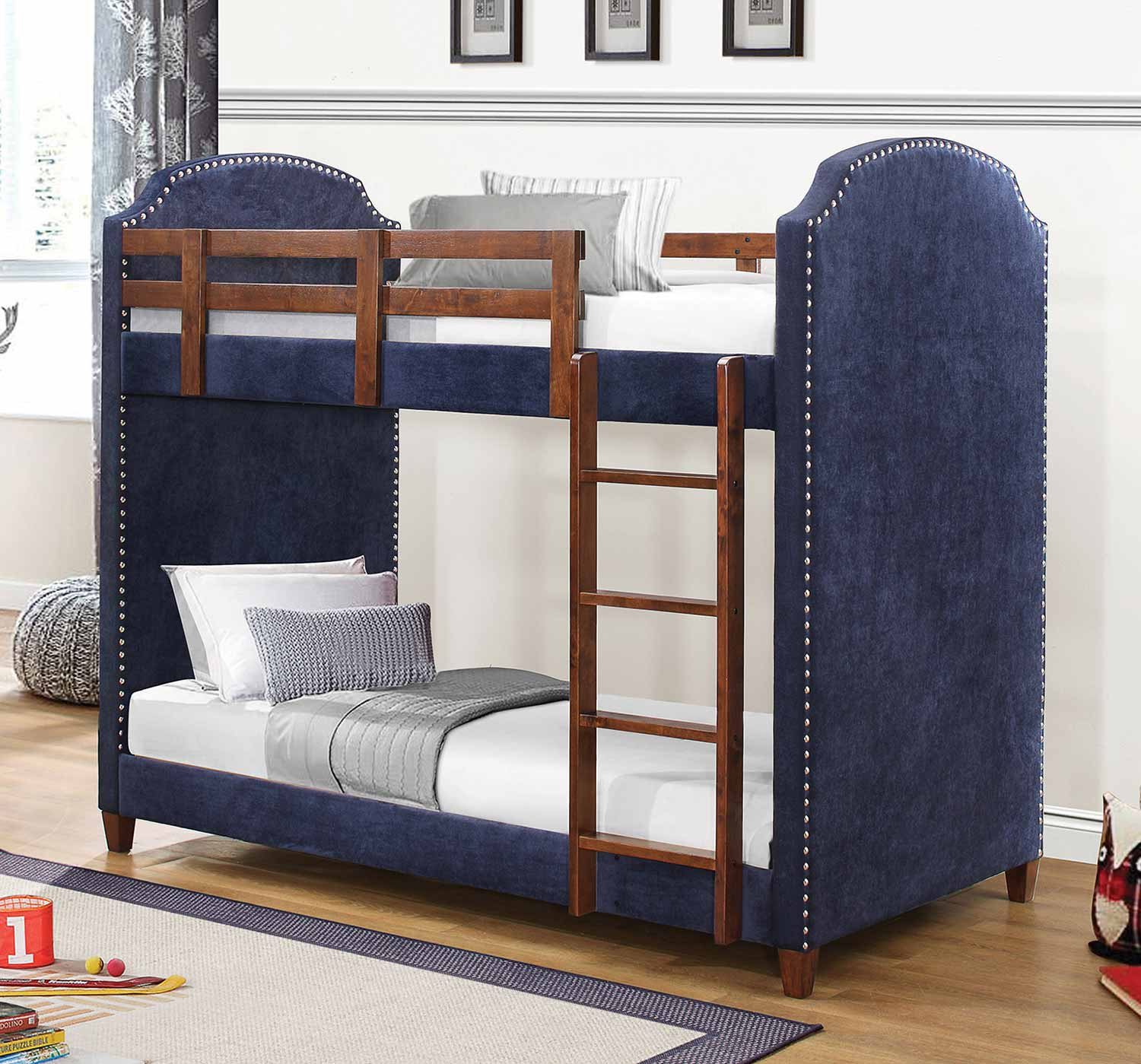 Coaster Charlene Twin/Twin Size Bunk Bed - Navy Blue Fabric