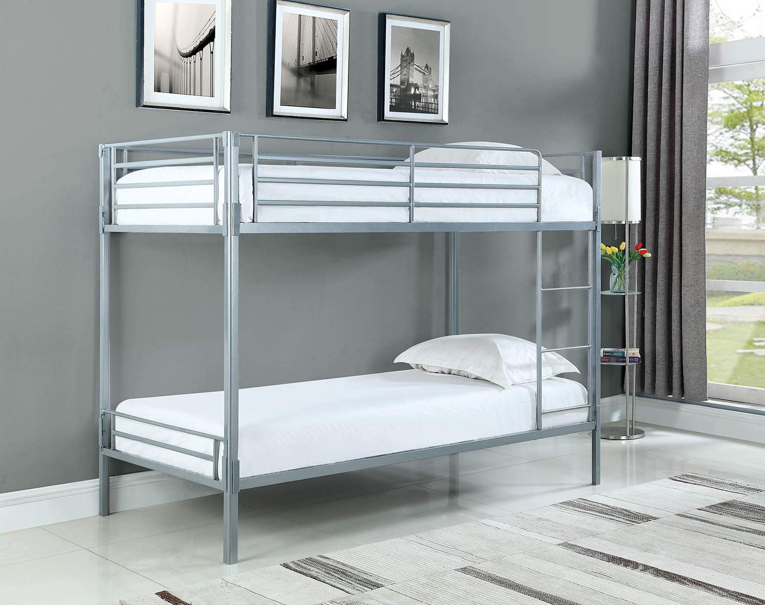 Coaster Boltzero Twin/Twin Size Bunk Bed - Silver