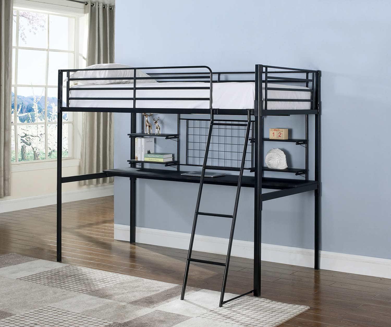 Coaster Boltzero Twin Workstation Loft Bed - Black