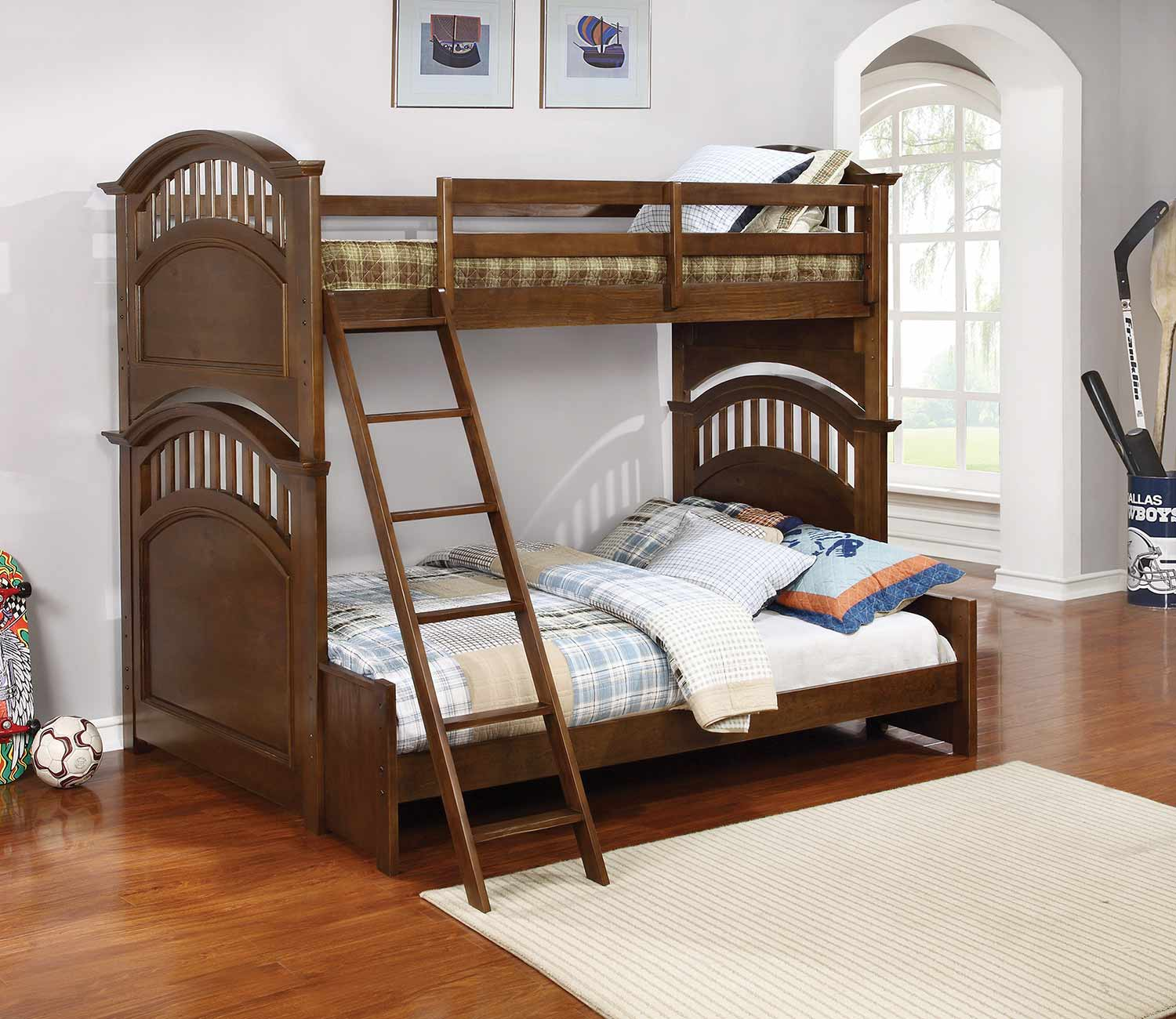 Coaster Halsted Twin/Full Size Bunk Bed - Walnut