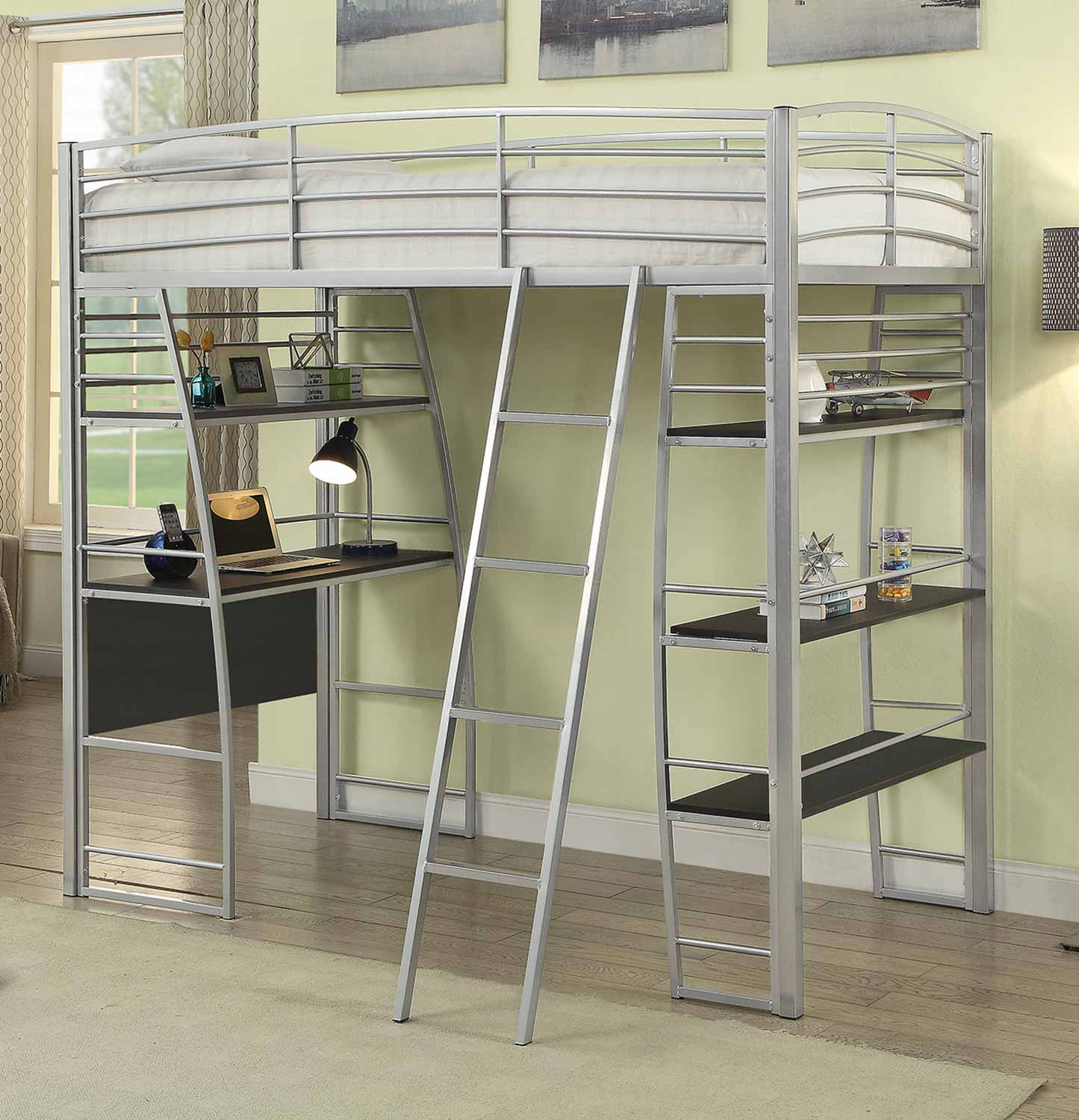 Coaster Escalon Twin Size Workstation Loft Bed - Silver