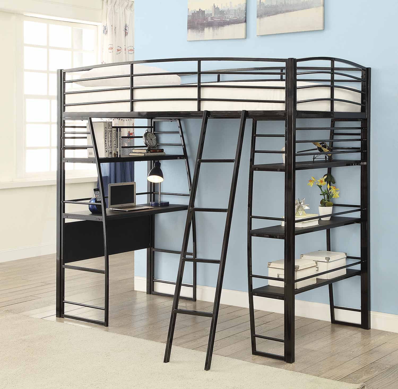 Coaster Escalon Twin Size Workstation Loft Bed - Black