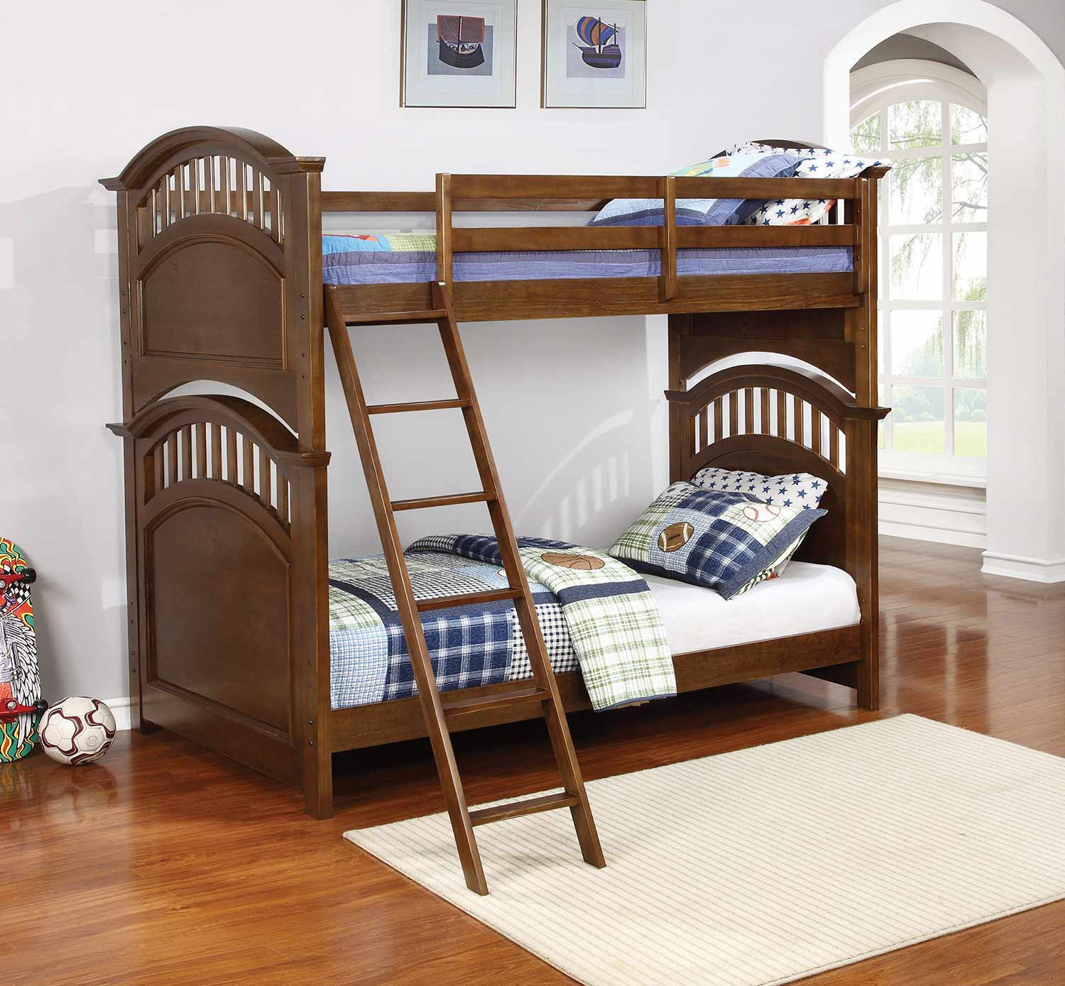Coaster Halsted Twin/Twin Size Bunk Bed - Walnut