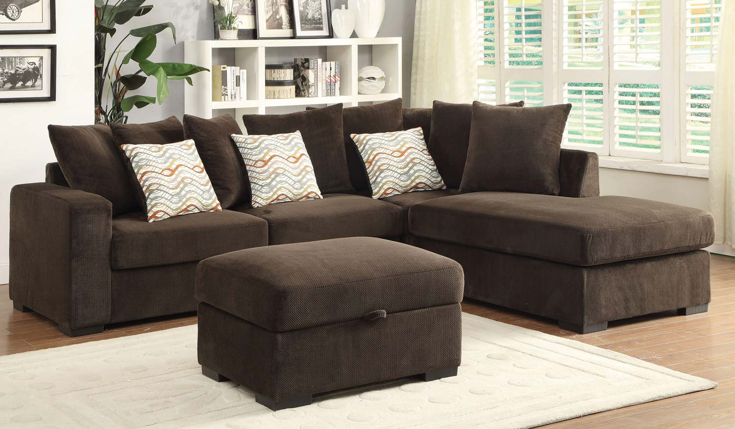 Coaster Olson Sectional Sofa Set Chocolate With Brown