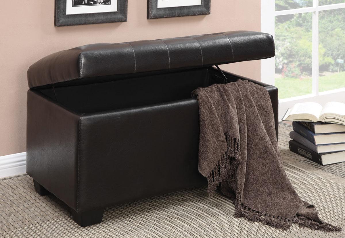Coaster 500948 Storage Ottoman - Dark Brown