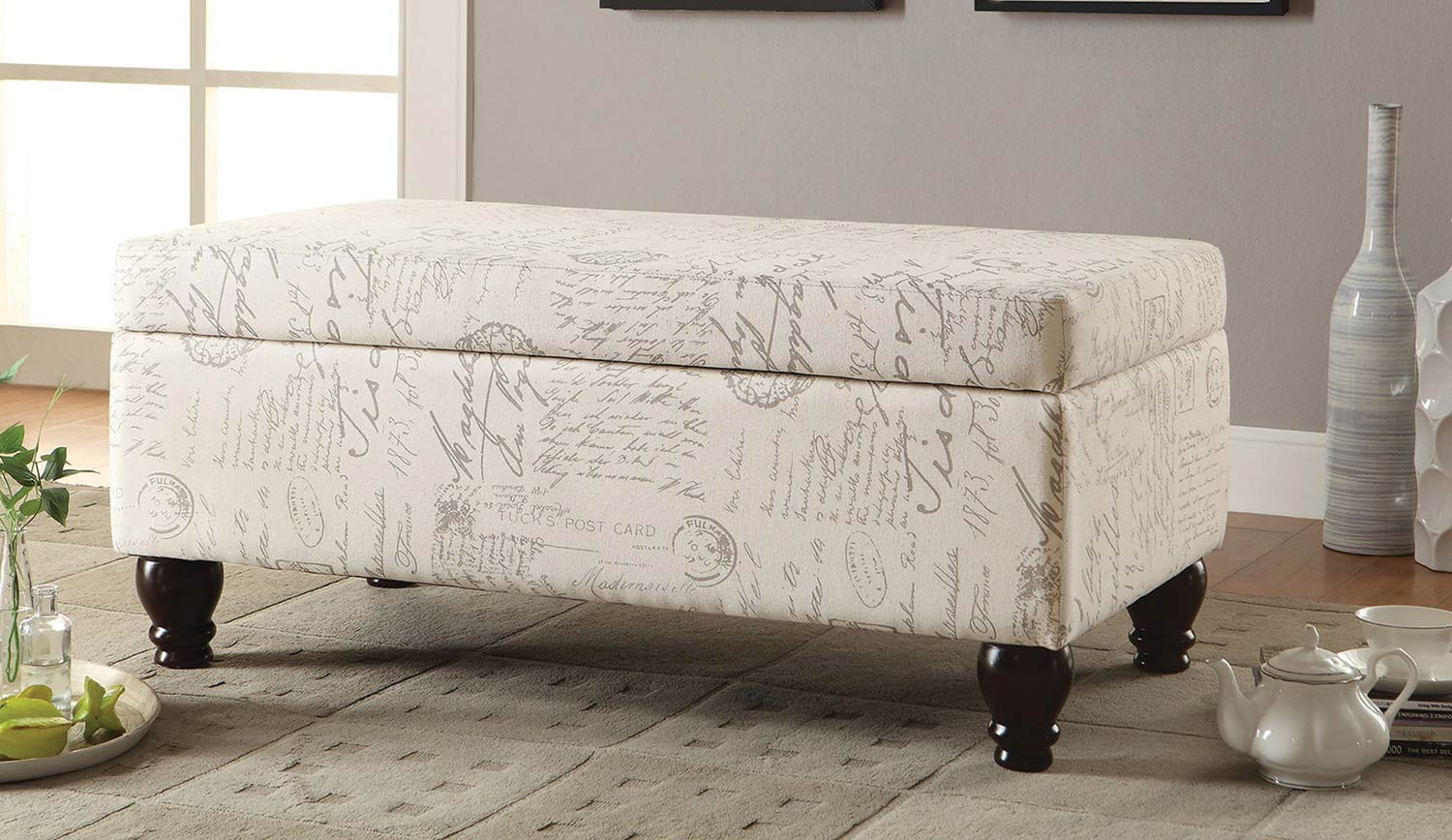 Coaster 500986 Storage Bench - Off White/Grey