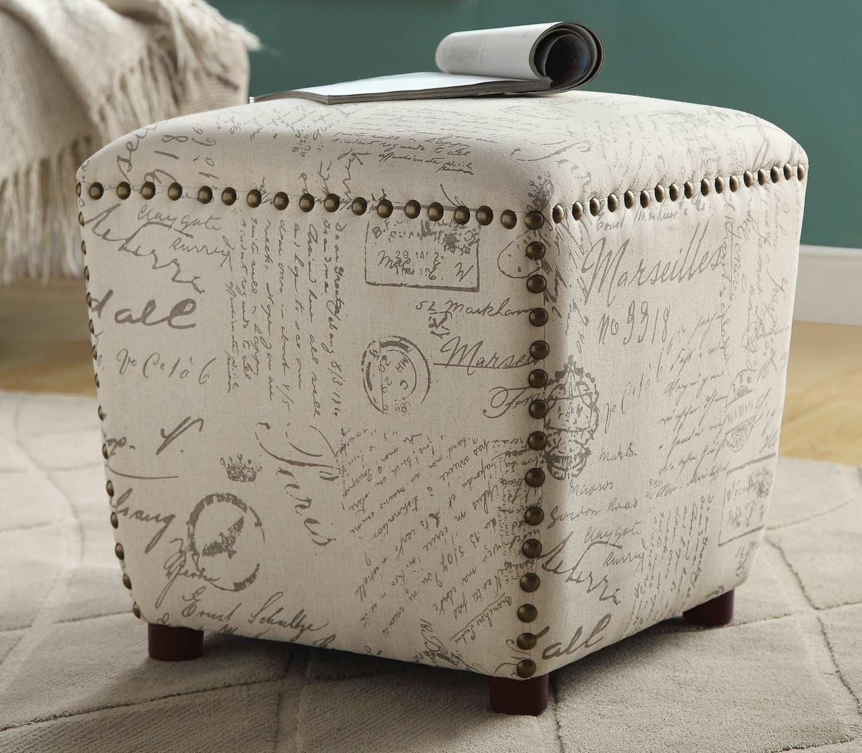 Coaster 501108 Stool - Off White/Grey French Script