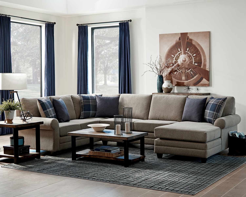 Coaster Summerland Sectional Sofa Set - Linen/Espresso