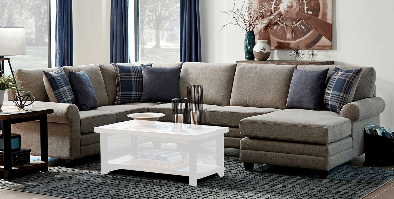 Coaster Summerland Sectional Sofa - Linen/Espresso