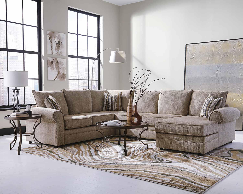 Coaster Fairhaven Sectional Sofa - Cream Herringbone