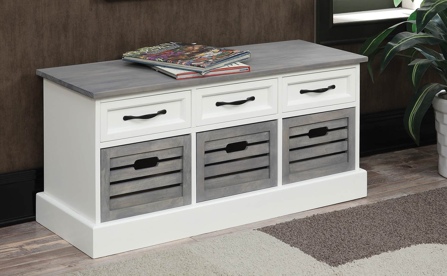 Coaster 501196 Storage Bench - Grey/White