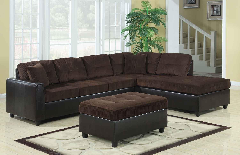 Coaster Henri Reversible Sectional Sofa Set - Chocolate/Black