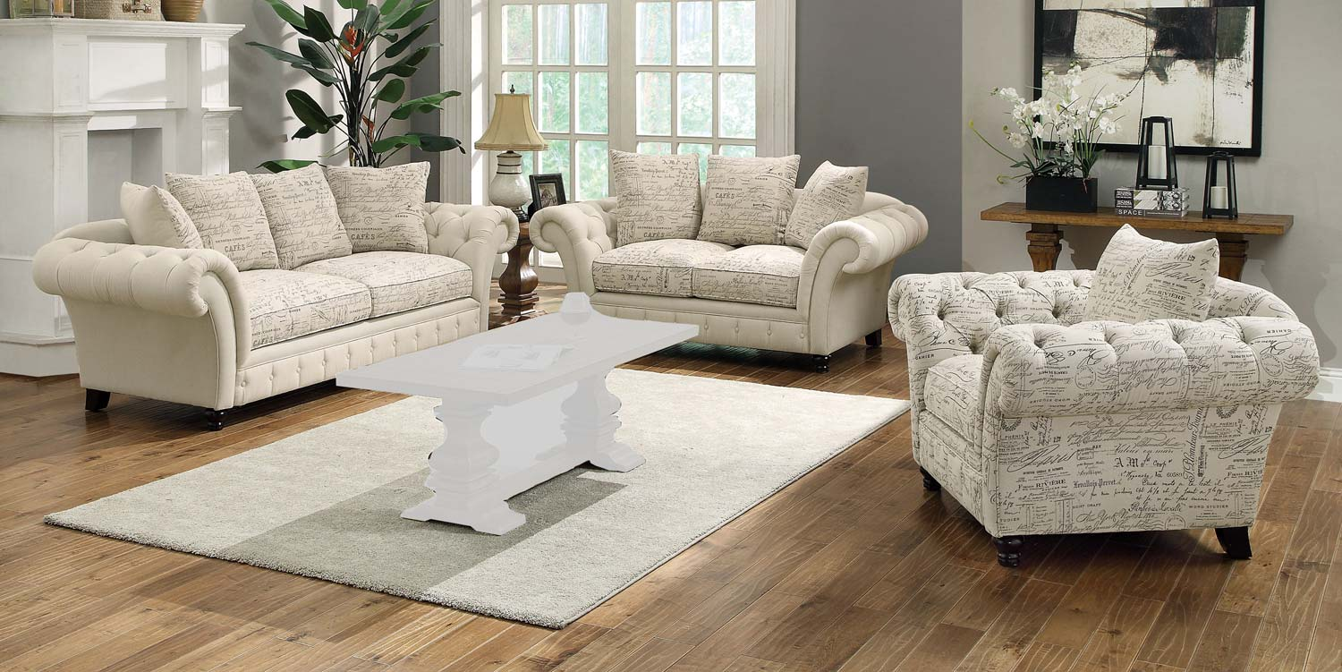 Coaster Willow Sofa Set  Plain/Printed Oatmeal