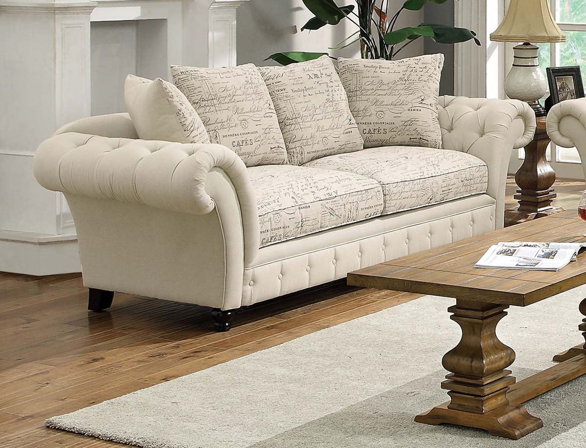 Coaster willow sofa plain printed oatmeal 503761 at homelement com