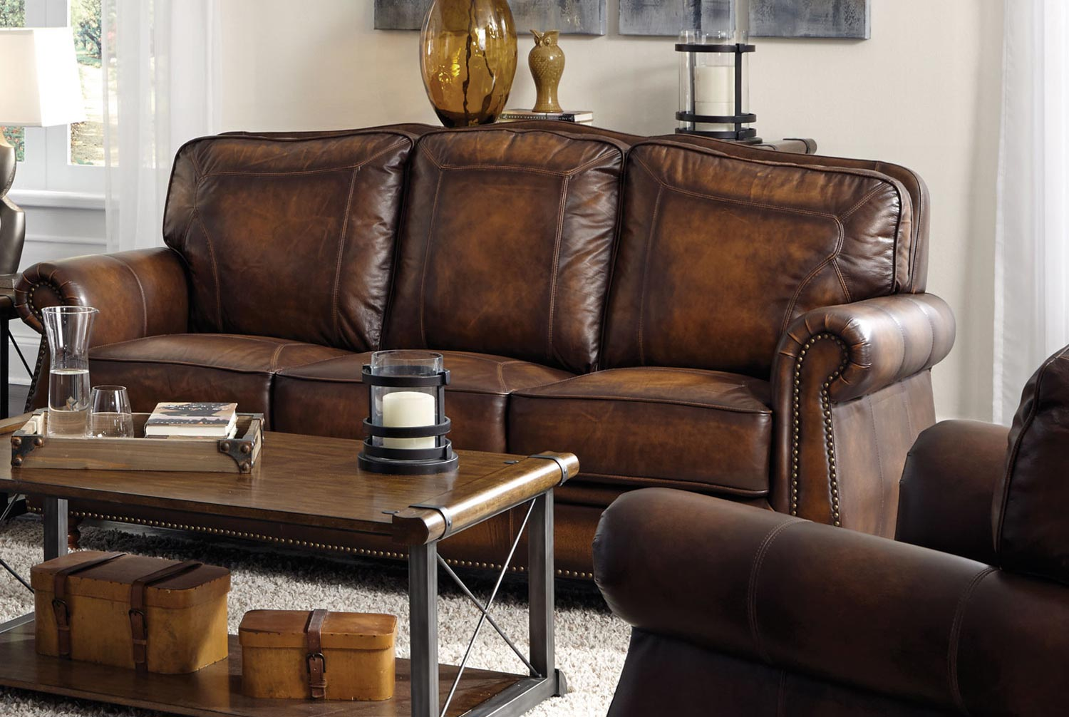 Coaster Montbrook Sofa Hand Rubbed Brown 503981 At