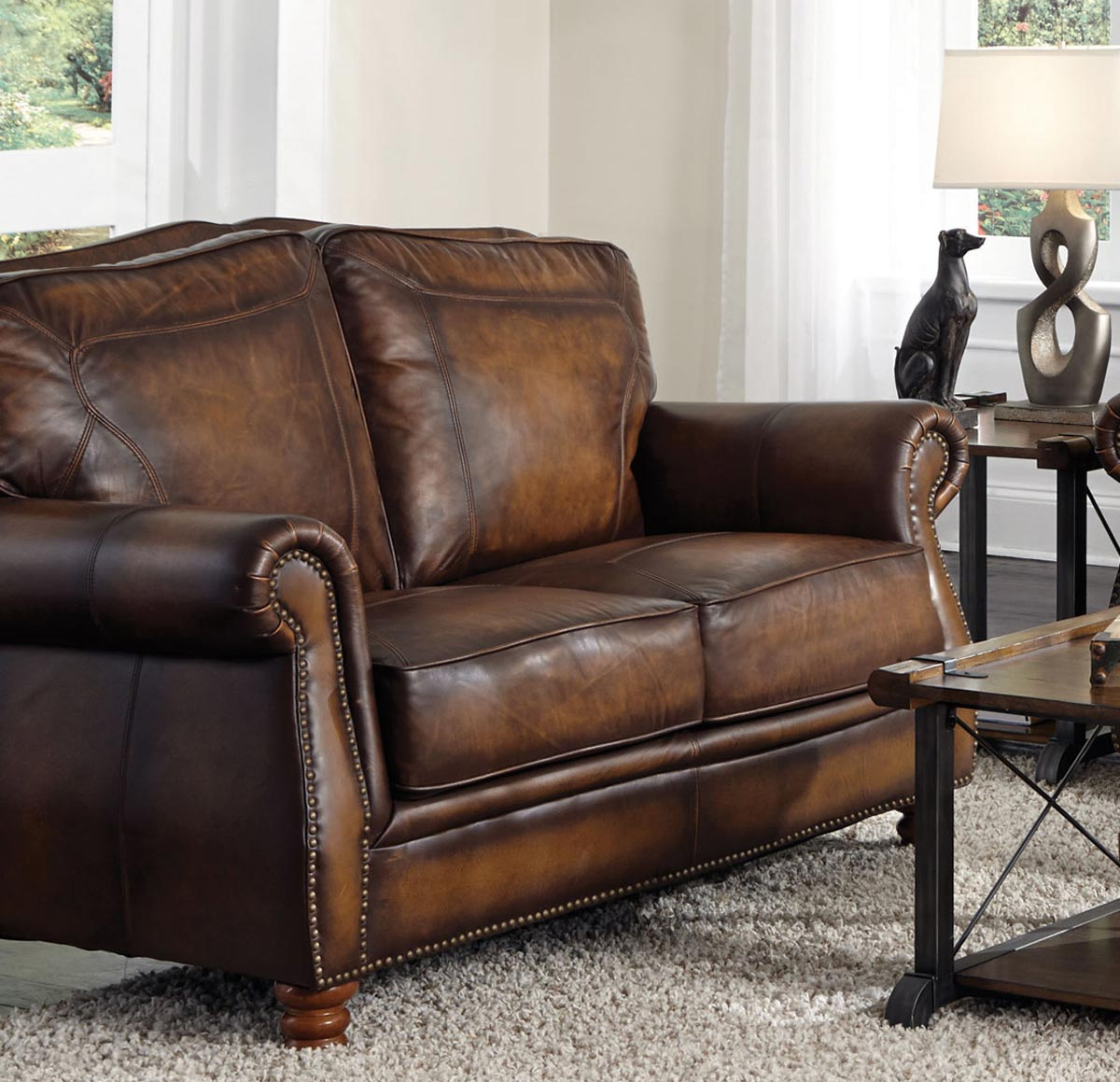 Coaster montbrook love seat hand rubbed brown at