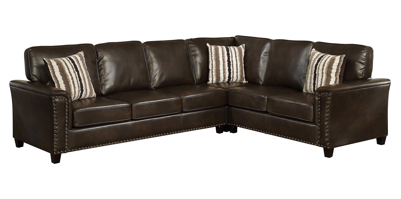 Coaster larkny sectional sofa dark brown 504005 at for Coaster transitional styled sectional sofa sleeper in brown
