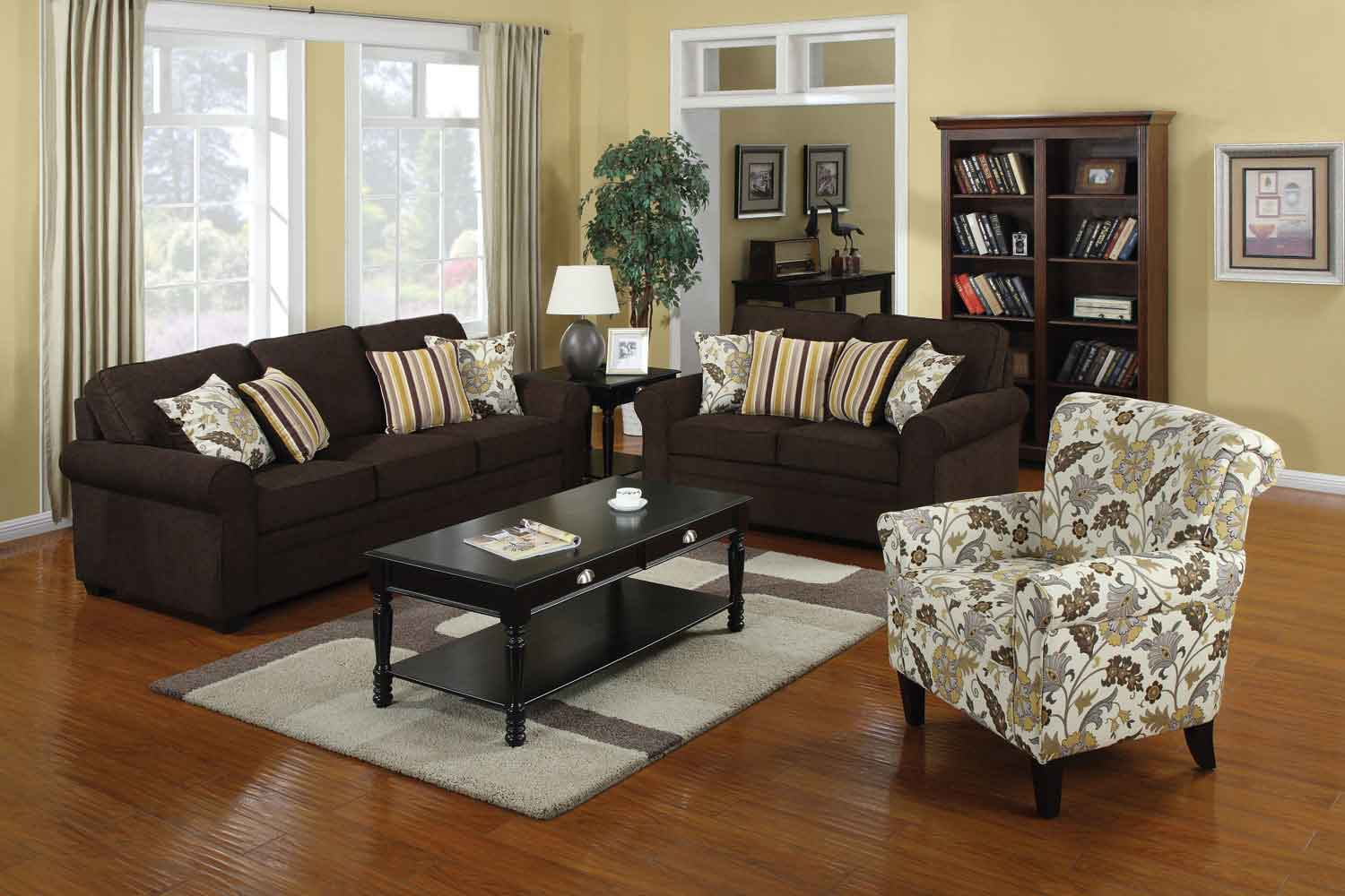 Coaster rosalie living room set brown black 504241 for Black living room set