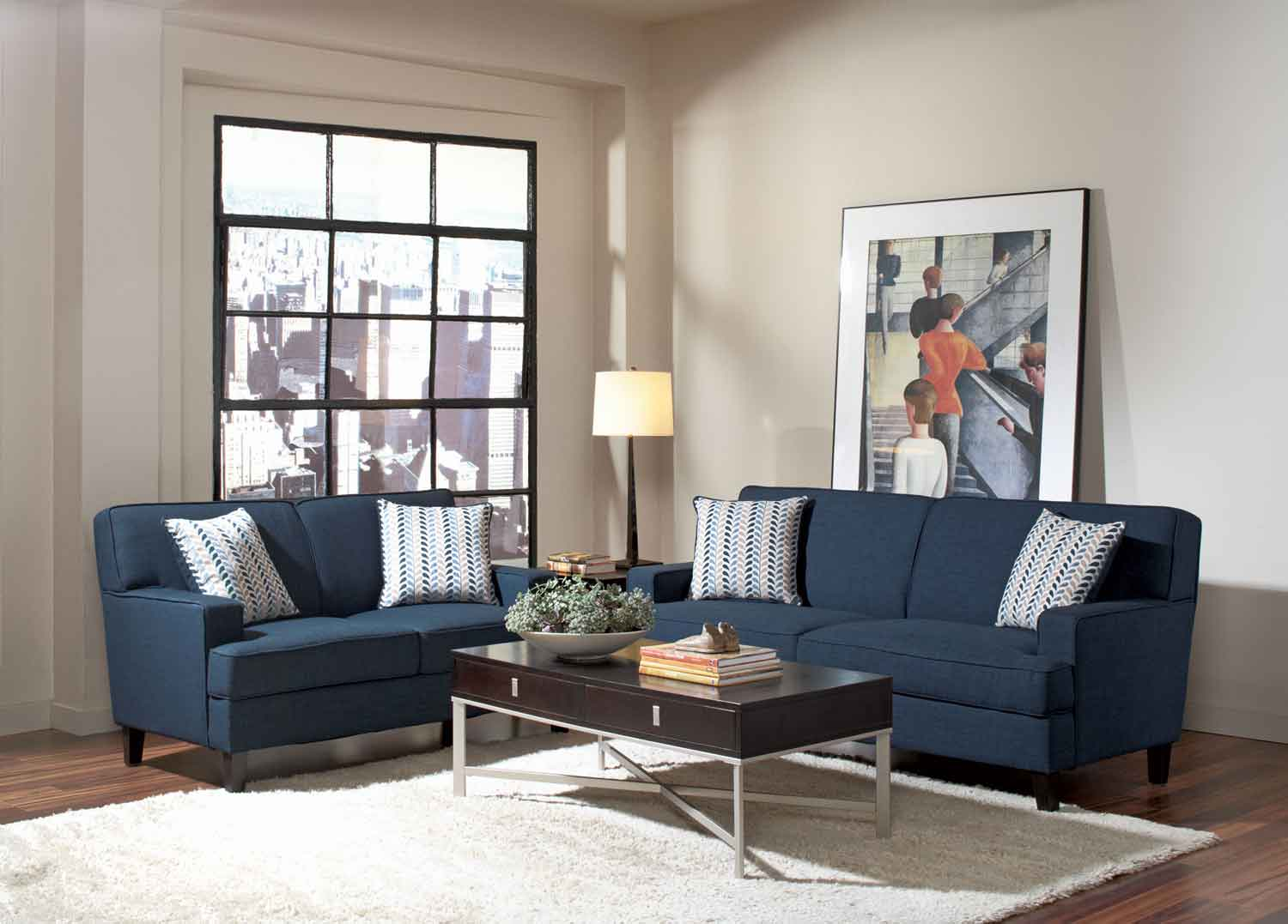 Finley Living Room Set   Blue