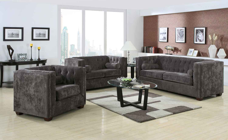 Coaster alexis living room set charcoal 504491 livset at for Charcoal living room furniture