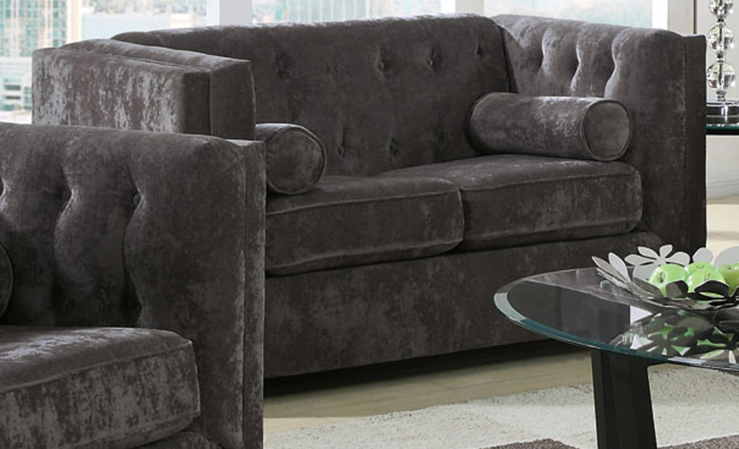 Coaster Alexis Love Seat - Charcoal